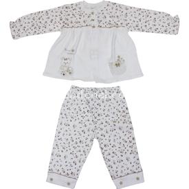 Minidamla 41785 Çiçekli Pijama Takımı Ekru-kahverengi 6-9 Ay (68-74 Cm) Kız Bebek Pijaması