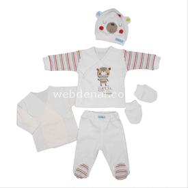 Bebepan 1582 Mr Cream Hastane Çıkışı 5li Set Beyaz 0-3 Ay (56-62 Cm) Erkek Bebek Hastane Çıkışı
