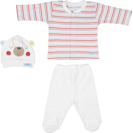 Bebepan 1588 Mr Cream Bebek Pijama Takımı Çizgili 0-3 Ay (56-62 Cm) Erkek Bebek Pijaması