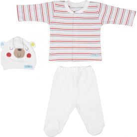 Bebepan 1588 Mr Cream Bebek Pijama Takımı Çizgili 3-6 Ay (62-68 Cm) Erkek Bebek Pijaması