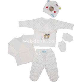 Bebepan 1612 Mrs Cream Hastane Çıkışı 5li Set Beyaz 0-3 Ay (56-62 Cm) Kız Bebek Hastane Çıkışı