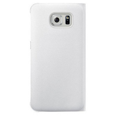 Microsonic Samsung Galaxy S6 Edge+ Plus Kılıf View Premium Leather Kapaklı Beyaz Cep Telefonu Kılıfı