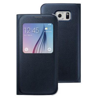 Microsonic Samsung Galaxy S6 Edge+ Plus Kılıf View Premium Leather Kapaklı Siyah Cep Telefonu Kılıfı