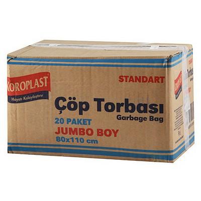 Koroplast Çöp Poşeti Standart Jumbo Boy 80 X 110 Cm 1 Koli 10 Adet Çöp Torbaları