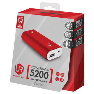 Trust Urban Cinco PowerBank 5200 - Kırmızı/Beyaz (20509)