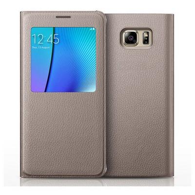 Microsonic Samsung Galaxy Note 5 Kılıf View Cover Delux Kapaklı Gold Cep Telefonu Kılıfı