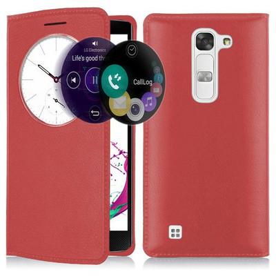 Microsonic Lg G4c Kılıf Circle View Slim Kapaklı Akıllı Kırmızı Cep Telefonu Kılıfı