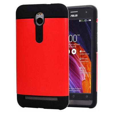 Microsonic Asus Zenfone 2 5.5'' Kılıf Slim Fit Dual Layer Armor Kırmızı Cep Telefonu Kılıfı