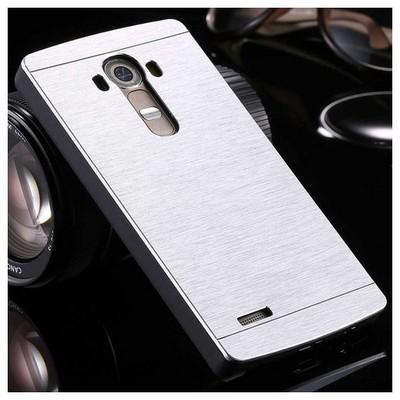 Microsonic Lg G4 Kılıf Hybrid Metal Gümüş Cep Telefonu Kılıfı