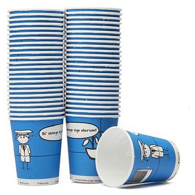 Ofix Karton Bardak Özel Baskılı Mavi 7 Oz 50 Adet Kullan At Malzemeler