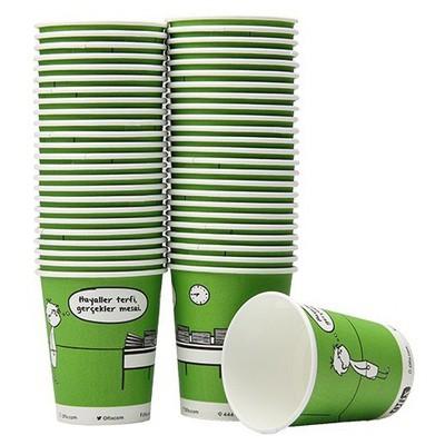 Ofix Karton Bardak Özel Baskılı Yeşil 7 Oz 50 Adet Kullan At Malzemeler