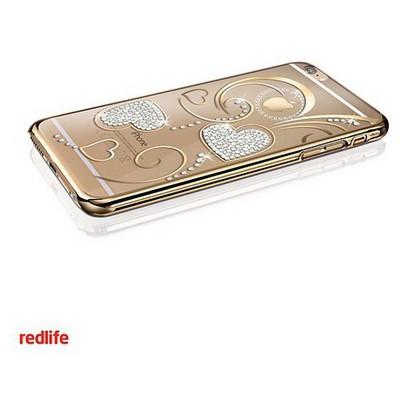 Redlife iPhone 6/ 6S Plus Kalp Desen Bol Taşlı Arka Kapak - Altın Cep Telefonu Kılıfı