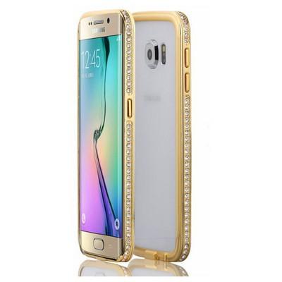 Microsonic Samsung Galaxy S6 Edge Kılıf Taşlı Metal Bumper Gold Cep Telefonu Kılıfı