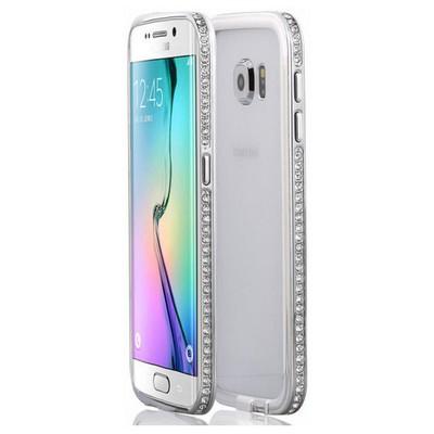 Microsonic Samsung Galaxy S6 Edge Kılıf Taşlı Metal Bumper Gümüş Cep Telefonu Kılıfı