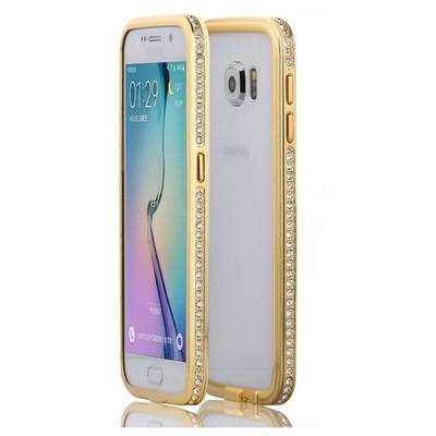 Microsonic Samsung Galaxy S6 Kılıf Taşlı Metal Bumper Gold Cep Telefonu Kılıfı