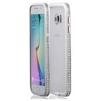 Microsonic Samsung Galaxy S6 Kılıf Taşlı Metal Bumper Gümüş Cep Telefonu Kılıfı