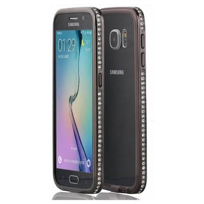 Microsonic Samsung Galaxy S6 Kılıf Taşlı Metal Bumper Siyah Cep Telefonu Kılıfı