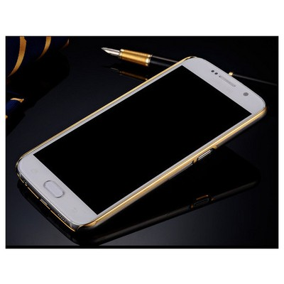 Microsonic Samsung Galaxy S6 Edge+ Plus Kılıf Metalik Transparent Gold Cep Telefonu Kılıfı
