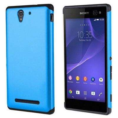 Microsonic Sony Xperia C3 Kılıf Slim Fit Dual Layer Armor Mavi Cep Telefonu Kılıfı
