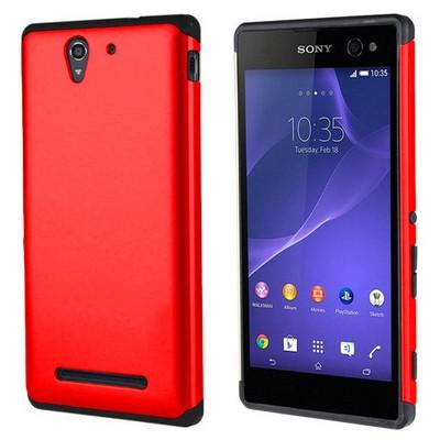Microsonic Sony Xperia C3 Kılıf Slim Fit Dual Layer Armor Kırmızı Cep Telefonu Kılıfı