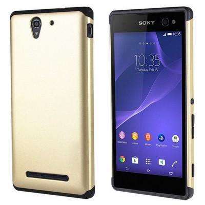 Microsonic Sony Xperia C3 Kılıf Slim Fit Dual Layer Armor Gold Cep Telefonu Kılıfı
