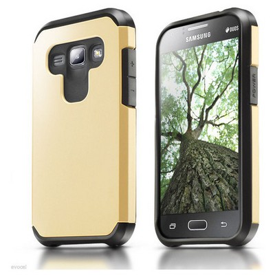 Microsonic Samsung Galaxy J1 Kılıf Slim Fit Dual Layer Armor Gold Cep Telefonu Kılıfı