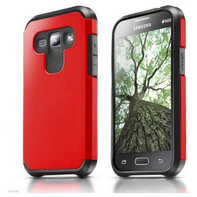 Microsonic Samsung Galaxy J1 Kılıf Slim Fit Dual Layer Armor Kırmızı Cep Telefonu Kılıfı