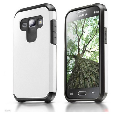 Microsonic Samsung Galaxy J1 Kılıf Slim Fit Dual Layer Armor Beyaz Cep Telefonu Kılıfı