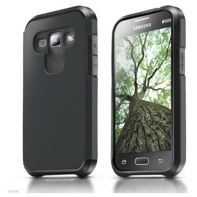 Microsonic Samsung Galaxy J1 Kılıf Slim Fit Dual Layer Armor Siyah Cep Telefonu Kılıfı
