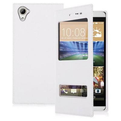 Microsonic Htc Desire 826 Kılıf Dual View Delux Kapaklı Beyaz Cep Telefonu Kılıfı