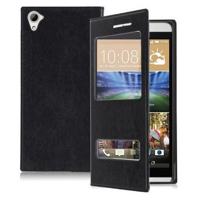 Microsonic Htc Desire 826 Kılıf Dual View Delux Kapaklı Siyah Cep Telefonu Kılıfı
