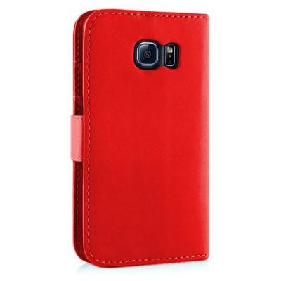 Microsonic Cüzdanlı Deri Samsung Galaxy S6 Edge Kılıf Kırmızı Cep Telefonu Kılıfı
