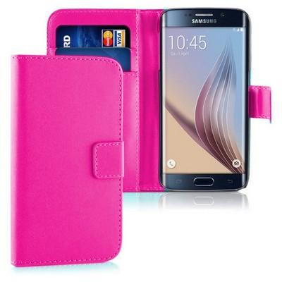 Microsonic Cüzdanlı Deri Samsung Galaxy S6 Edge Kılıf Pembe Cep Telefonu Kılıfı