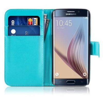 Microsonic Cüzdanlı Deri Samsung Galaxy S6 Edge Kılıf Mavi Cep Telefonu Kılıfı