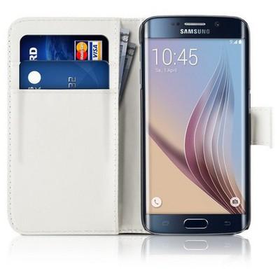 Microsonic Cüzdanlı Deri Samsung Galaxy S6 Edge Kılıf Beyaz Cep Telefonu Kılıfı