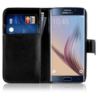 Microsonic Cüzdanlı Deri Samsung Galaxy S6 Edge Kılıf Siyah Cep Telefonu Kılıfı