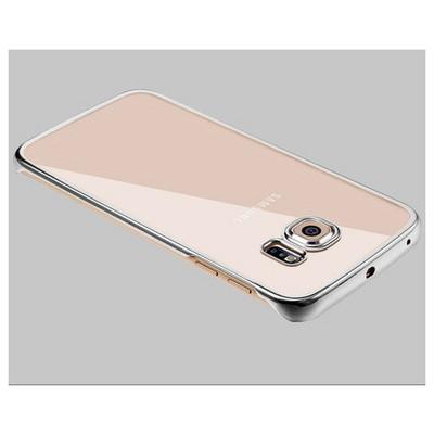Microsonic Samsung Galaxy S6 Edge Kılıf Metalik Transparent Gümüş Cep Telefonu Kılıfı