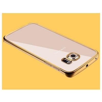 Microsonic Samsung Galaxy S6 Edge Kılıf Metalik Transparent Gold Cep Telefonu Kılıfı