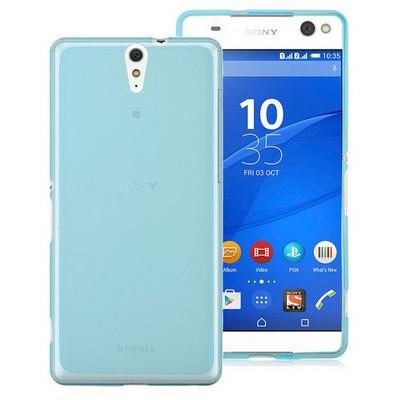 Microsonic Sony Xperia C5 Ultra Kılıf Transparent Soft Mavi Cep Telefonu Kılıfı