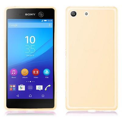 Microsonic Sony Xperia M5 Kılıf Transparent Soft Gold Cep Telefonu Kılıfı