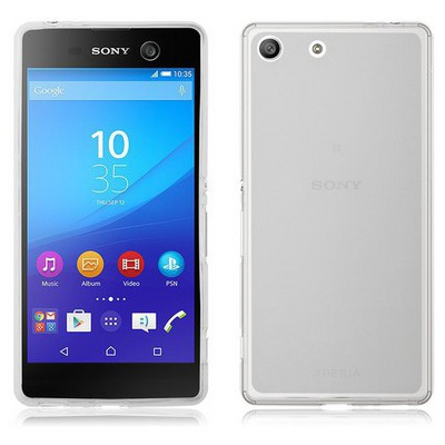 Microsonic Sony Xperia M5 Kılıf Transparent Soft Beyaz Cep Telefonu Kılıfı