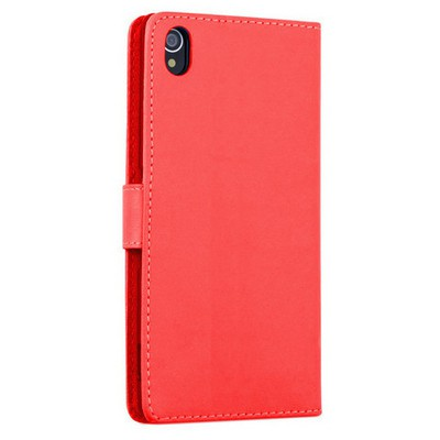 Microsonic Sony Xperia Z3+ Plus Kılıf Cüzdanlı Deri Kırmızı Cep Telefonu Kılıfı
