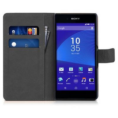 Microsonic Sony Xperia Z3+ Plus Kılıf Cüzdanlı Deri Siyah Cep Telefonu Kılıfı