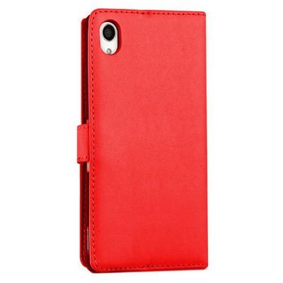 Microsonic Sony Xperia M4 Aqua Kılıf Cüzdanlı Deri Kırmızı Cep Telefonu Kılıfı