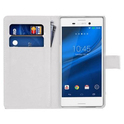 Microsonic Sony Xperia M4 Aqua Kılıf Cüzdanlı Deri Beyaz Cep Telefonu Kılıfı
