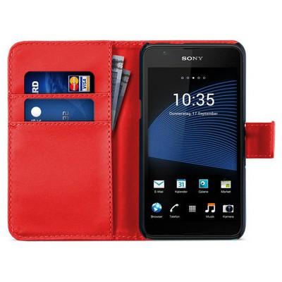 Microsonic Sony Xperia E4g (4.7'') Kılıf Cüzdanlı Deri Kırmızı Cep Telefonu Kılıfı