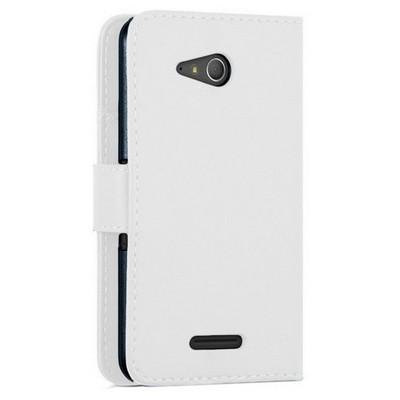 Microsonic Sony Xperia E4g (4.7'') Kılıf Cüzdanlı Deri Beyaz Cep Telefonu Kılıfı