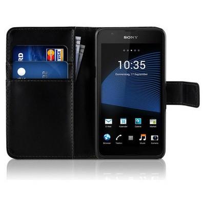 Microsonic Sony Xperia E4g (4.7'') Kılıf Cüzdanlı Deri Siyah Cep Telefonu Kılıfı