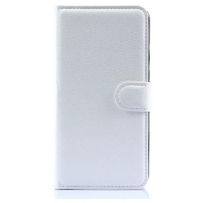 Microsonic Lenovo S90 Sisley Kılıf Cüzdanlı Deri Beyaz Cep Telefonu Kılıfı