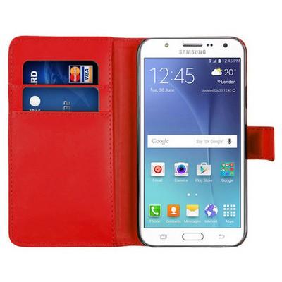Microsonic Samsung Galaxy J5 Kılıf Cüzdanlı Deri Kırmızı Cep Telefonu Kılıfı